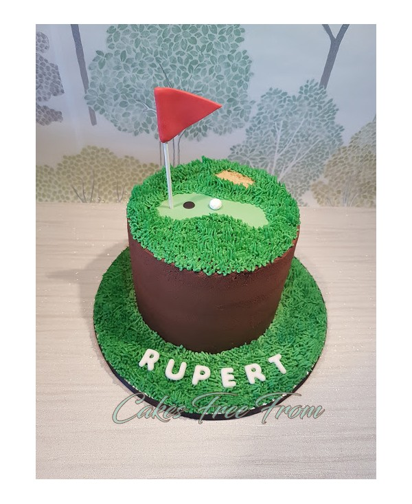Gluten Free Golf Themed Chocolate Cake Filled And Covered In Buttercream Fondant Icing Decorations